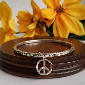 Jeweled Bangle Bracelet with Peace Sign Charm